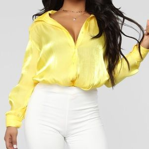Tops - Yellow satin blouse